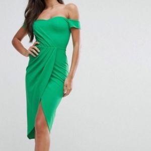 ASOS Green Off Shoulder Sweetheart Neckline Dress